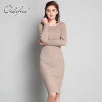 Ordifree Pull Femme 2017 Women Knitted Sweater Pullover Long Sleeve Knee Length Bodycon Warm Sweater Dress
