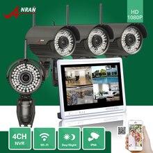 ANRAN Vigilancia P2P 4CH NVR WIFI 12'LCD Monitor de 2.8-12 MM Lente 78 Al Aire Libre IR 1080 P Cámara IP Inalámbrica Sistema de Seguridad Kits HDD