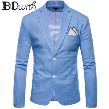 New Arrival Men Blazer Jacket  Blue Casual Long Sleeve Notched Collar Men Coat for Party Groom Wedding