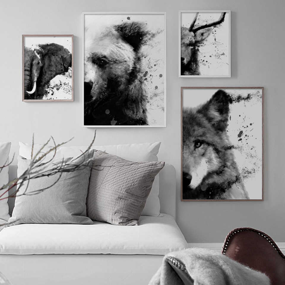 Nordic Prints Black And White Animal Panda Pictures Home Wall Art Modular Wolf Poster Painting Canvas Living Room Decoration