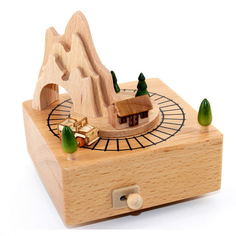 1 Piece Clockwork The Train Over The Mountain Music Ofbox Wood Toys For Children Handmade Wind Up Toy Birthday Gifts For Kids