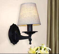 Kinkiet amerykański kraj lampka do sypialni ciepła prosta tkanina oświetlenie ściana korytarza lampka nocna nowy chiński