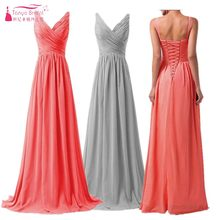 A Line Long Chiffon Bridesmaid Dresses Country Style Beach Bridesmaids Dress  vestido de festa Brides maid ffc68399d3bc