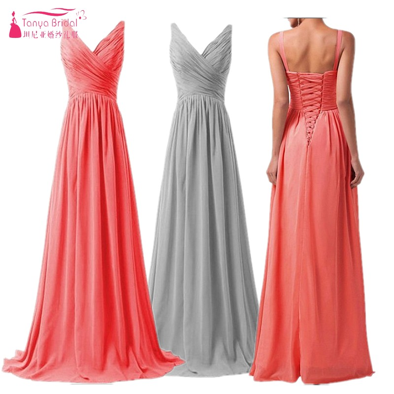 A Line Long Chiffon Bridesmaid Dresses Country Style Beach Bridesmaids Dress vestido de festa Brides maid Gowns DQG071