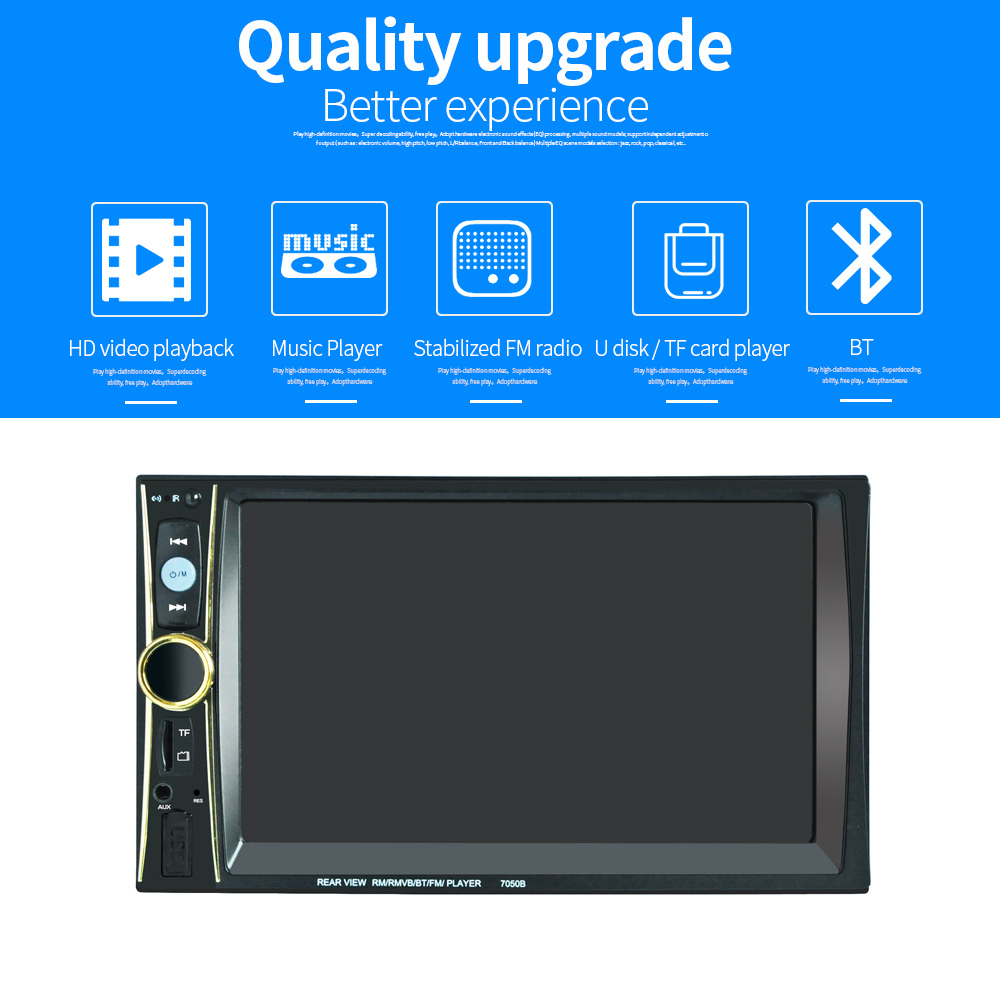 car stereo 7050B 6.5 2 Din Car Radio Bluetooth Player Touch Screen MP5 Player FM Auto Radio with Remote Rear View Cameracar stereo 7050B 6.5 2 Din Car Radio Bluetooth Player Touch Screen MP5 Player FM Auto Radio with Remote Rear View Camera