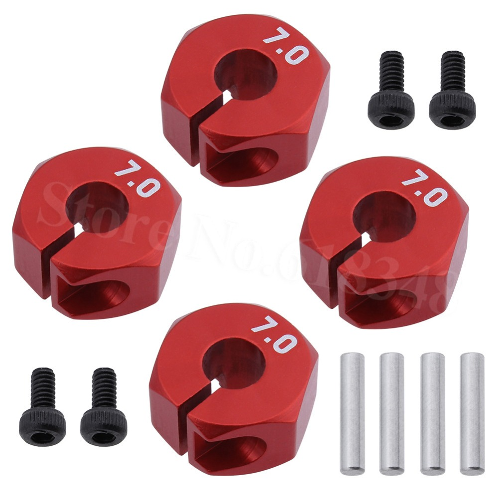 4pcs Aluminum 7.0 Wheel Hex 12mm Drive Hubs With Pins Screws For RC Cars Trucks Buggies HSP HPI Tamiya Traxxas Slash 4pcs set rc parts 12mm hex bead loc short course ruber tire rims for hpi hsp rc 1 10 traxxas slash