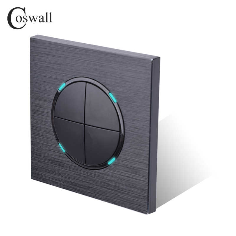 Coswall Luxurious 4 Gang 1 Way Random Click On / Off Wall Light Switch With LED Indicator Black Aluminum Metal Panel