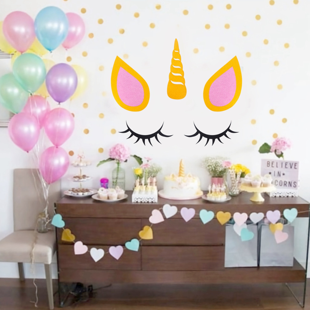 Qifu Unicorn Decoration Party Wedding Background Stickers Home Decor Living Room Paper Flowers Wall Unicorn Birthday Toy Supply