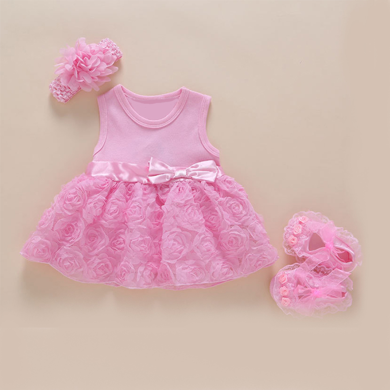 51b3e23f2ce5d NewBorn Baby Girls Infant Dress Clothes Summer Kids Party Birthday Outfits 1 -2Years Shoes Set Christening Gown Jurk Zomer XF111