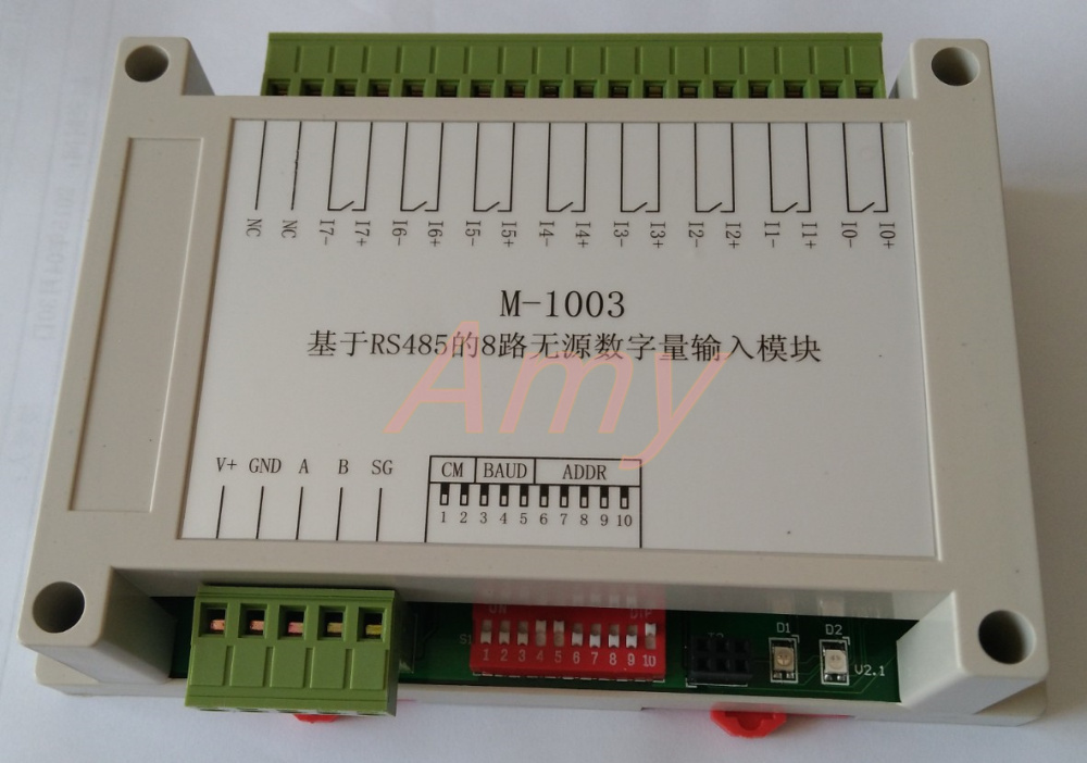 M-1003: 8 way passive digital input module based on RS485 (dry contact)M-1003: 8 way passive digital input module based on RS485 (dry contact)