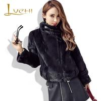 LVCHI beautiful Women's Coats Fur Fashion Adjustable Collar Mink Fur Coat Natural Mink tail fur Coat for Women Black Mink Coat