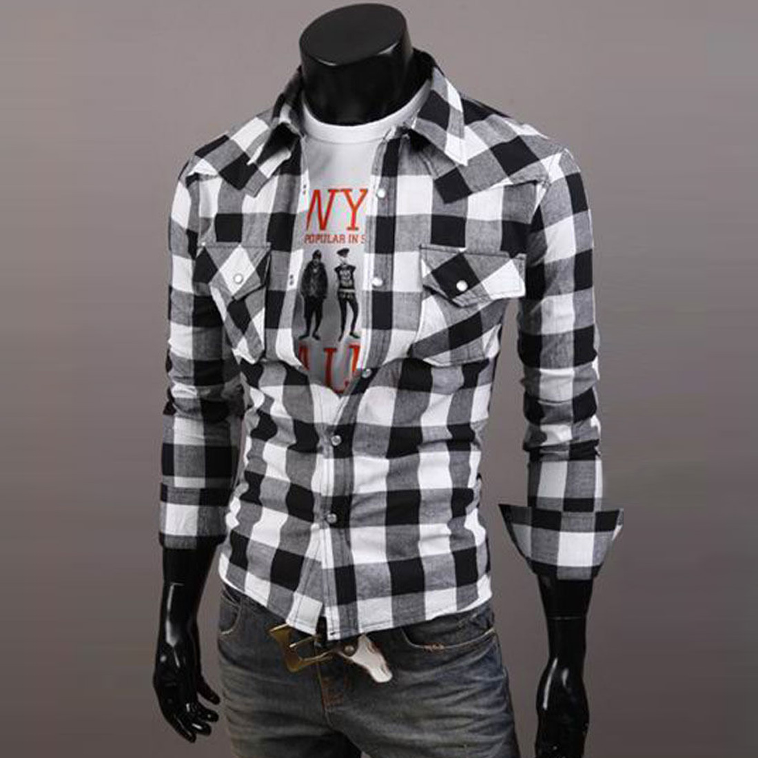 70fcd82f54 New fashion Mens Slim Fit Casual & Dress Plaid Check Shirt Korean ...