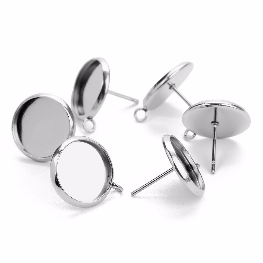 20pcs/lot Silver Stainless Steel Blank Cabochon Base With Hole Fit 8/10/12/14/16mm Cameo Earrings Setting For DIY Jewelry Making