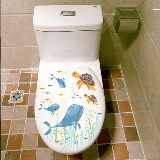 % Новые Подводные Рыба Дельфин ведьма кошка стены Наклейки надписи искусство для ванной стиральная машина Туалет Ванная комната Хэллоуин у...