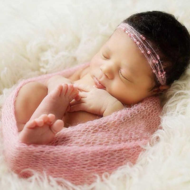 40*150 cm Neugeborenen Baby Mohair Fotografie Wraps Decke Mit Perle Stirnband Headwear Säuglings Weiche Strick Wrap Tuch Zubehör