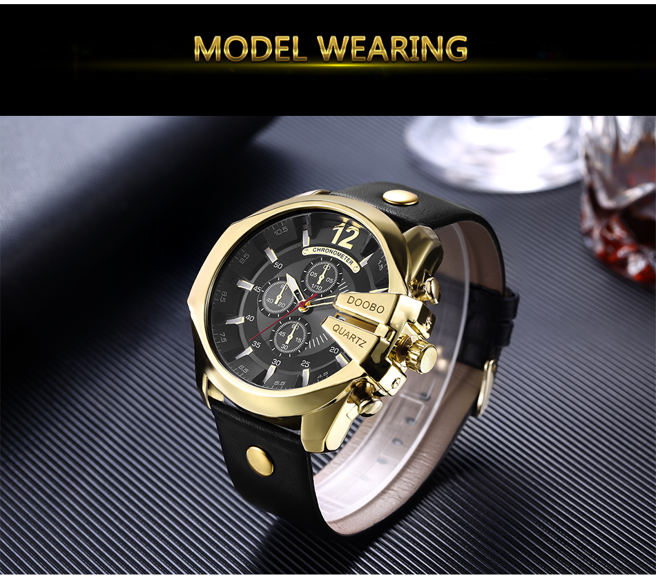 DOOBO Men Watches Top Brand Luxury Gold Male Watch Fashion Leather Strap Casual sport Wristwatch With Big Dial Drop Shipping