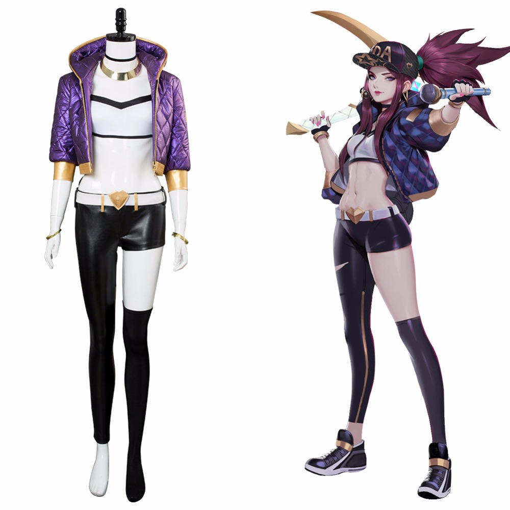 Costume LOL Cosplay The Rogue Assassin Akali Costume Cosplay Cap Shoes K/DA Outfit Women Adult Halloween Carnival Customizable