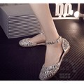 Ankle Wrap Bling Cinderella Beading Women Brand Shoes Silver Shoes Performance Soft Leather Women Shoe Pu Solid Silver