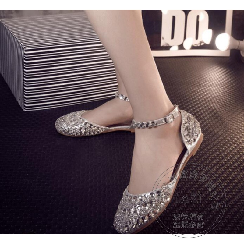 Ankle Wrap Bling Cinderella Beading font b Women b font Brand Shoes Silver Shoes Performance Soft