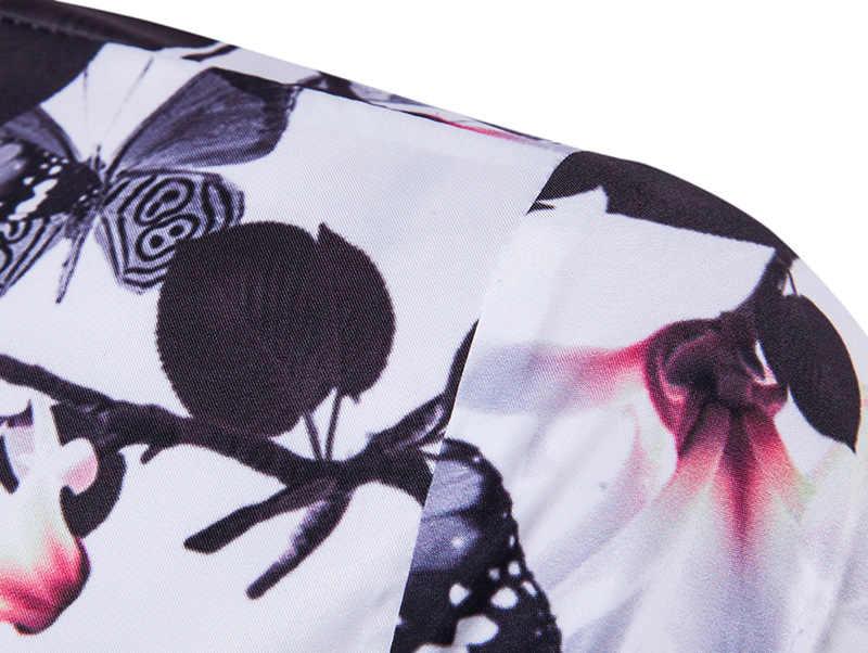 Стильная Гавайская Мужская рубашка с принтом бабочки 2018 летняя приталенная Повседневная пляжная рубашка Masculina брендовая мужская рубашка с коротким рукавом