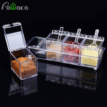 4pcs/set Clear Seasoning Rack Spice Pots Storage Container Condiment Jars Cruet with Cover and Spoon Kitchen Utensils Supplies
