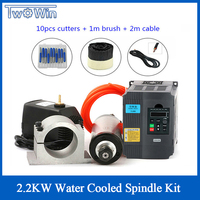 2.2KW Water Cooled Spindle Kit CNC Milling Spindle Motor 2.2KW VFD Inverter 80mm Clamp Water Pump Pipe 13pcs ER20 for CNC Router