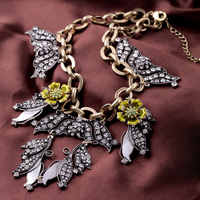 Antique Silver Color Pendants Enamel Flowers Costume Hyperbole Statement Necklace For Women Big name Fashion Jewelry In Box