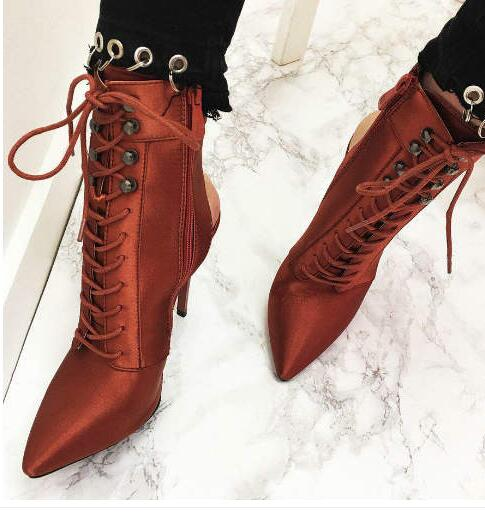 Ankle boots woman  high heels short boots  sexy open back  pumps spring and autumn boots side zipper closure type