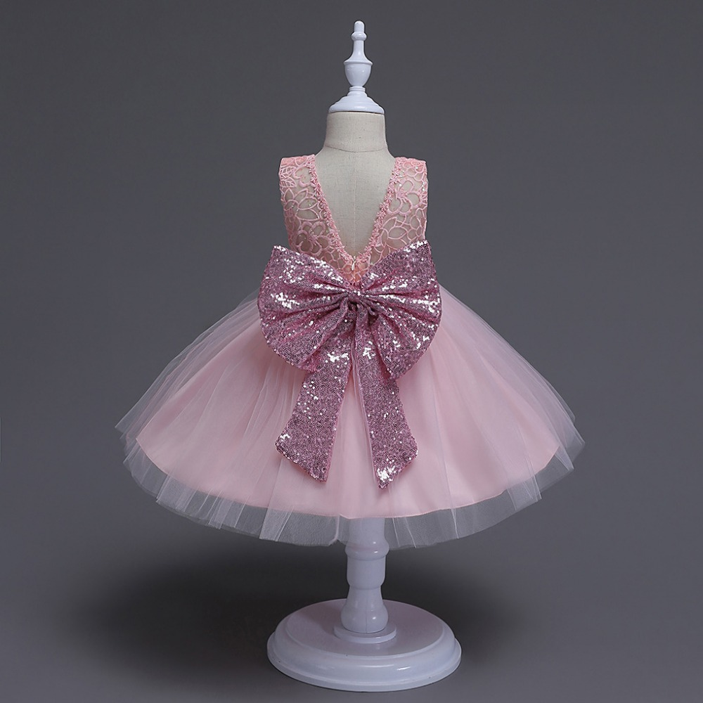Buy Cheap 2017 New Born baby girl glitter bow tutu dress sequined Belt infant baby birthday dresses V back formal costume for princess