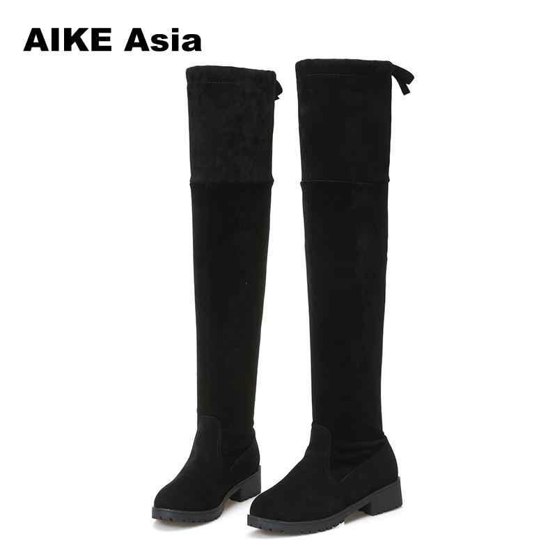 2020 nuevas botas calientes para mujer Otoño Invierno botas de moda de mujer de fondo plano zapatos sobre la rodilla muslo alto gamuza 1 botas largas #740