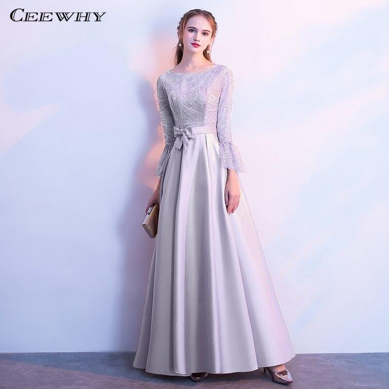 CEEWHY O-Neck Aribic Muslim   Evening     Dress   Long Sleeve Satin Sequin Formal   Dresses     Evening   Gown for Women Robe de Soiree