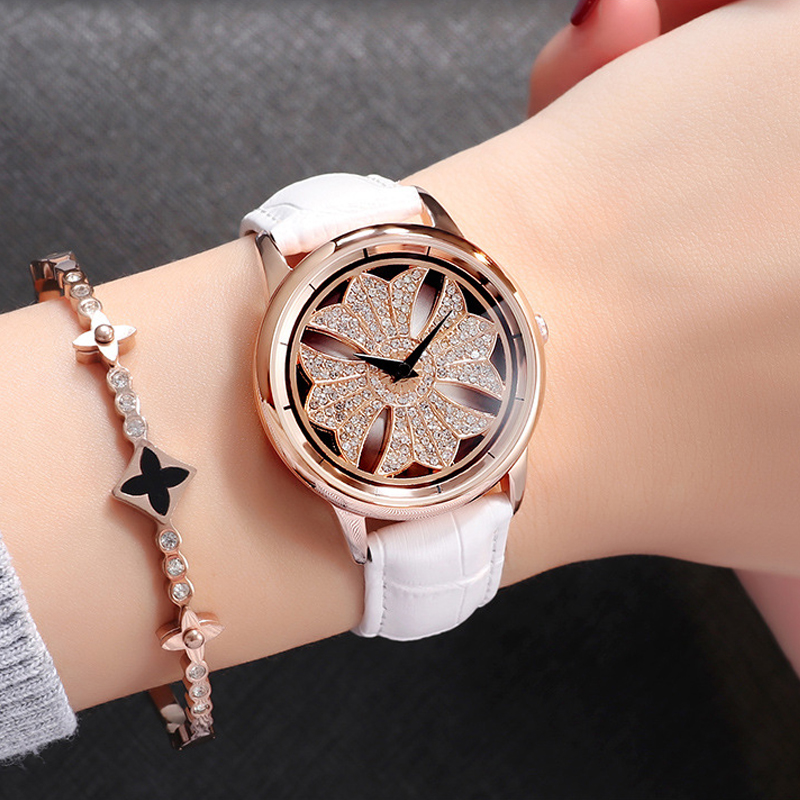 Cool Girl Table Full Diamond Spinning Woman Quartz Watch Top Brand Luxury Female Clock Waterproof Ladies Fashion Watch Rose Gold цена 2017