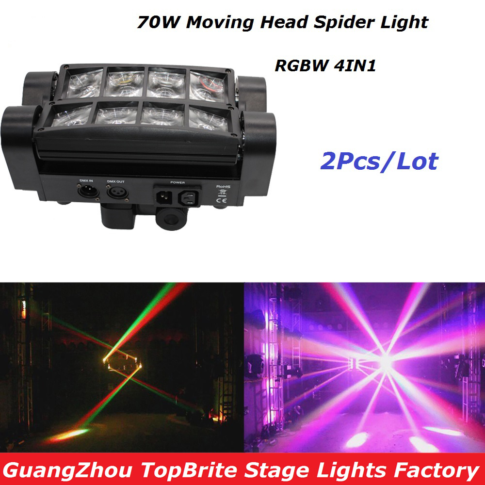 High Quality 2Pcs/Lot 70W Moving Head Bar Beam Light 8*3W RGBW 4IN1 Led Spider Light For Stage Dj Disco Laser Light Projector free shipping 2pcs lot led moving head light edison led 3w aluminum hose flexible star hotel retrofit chrome finish