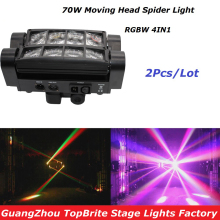купить High Quality 2Pcs/Lot 70W Moving Head Bar Beam Light 8*3W RGBW 4IN1 Led Spider Light For Stage Dj Disco Laser Light Projector дешево