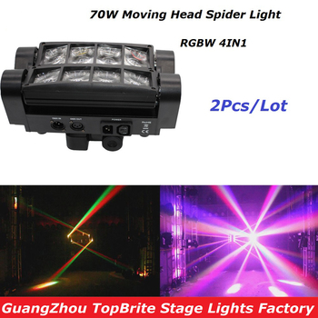 High Quality 2Pcs/Lot 70W Moving Head Bar Beam Light 8*3W RGBW 4IN1 Led Spider For Stage Dj Disco Laser Projector