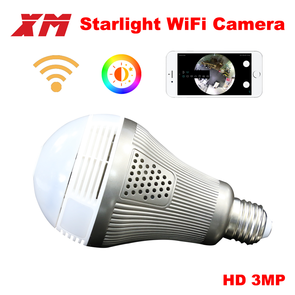 XM 360 Panoramin Smart Home Safty Wifi 3MP VR Camera LED Bulb Security Camcorder Motion Detection
