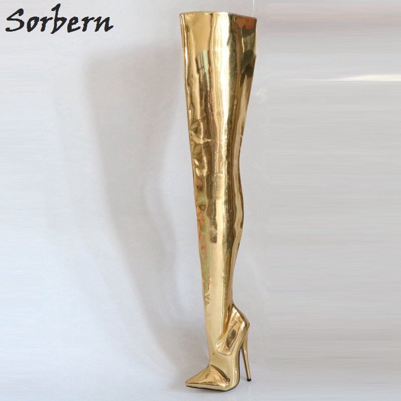 Sorbern Golden Shiny Over The Knee Boots Women Thigh Crotch High Boot Ladies Pointed Toe Spike Heels 18Cm Women Plus Size стоимость