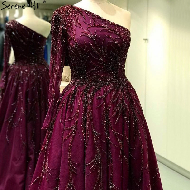 Dubai Design Wine Red A-Line Evening Dresses One-Shoulder Sexy Luxury Evening Gowns 2019 Serene Hill LA60988