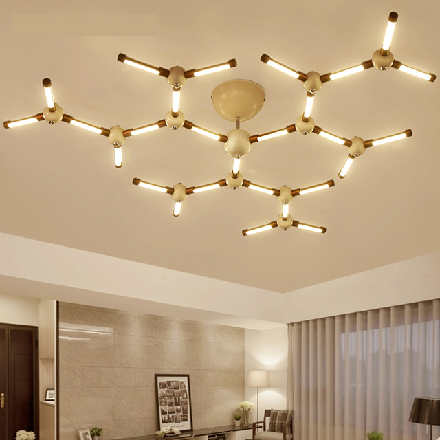 Modern LED Chandelier Lights For Living Room Bedroom Indoor Deco  Coffee+White Lampe Plafond Chandeliers