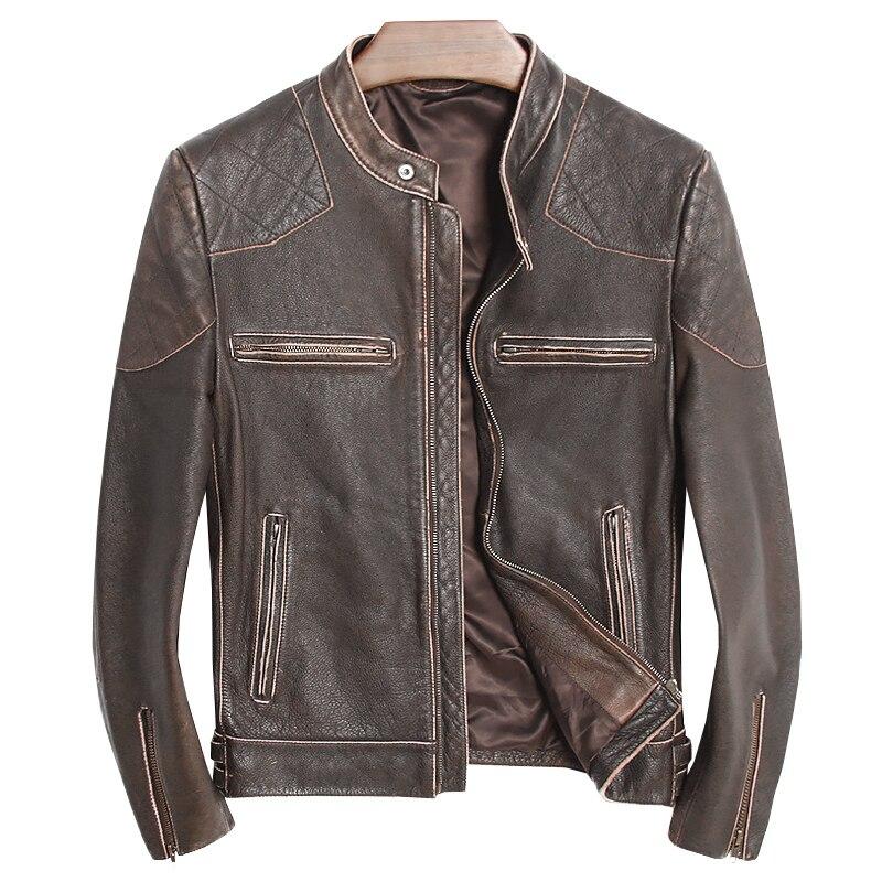 En Manteau Brun De Col Vintage Motard Harley Quetsche Vache Russe Moto Slim Fit Hommes Veste Montant Véritable Cuir wkXO8Pn0