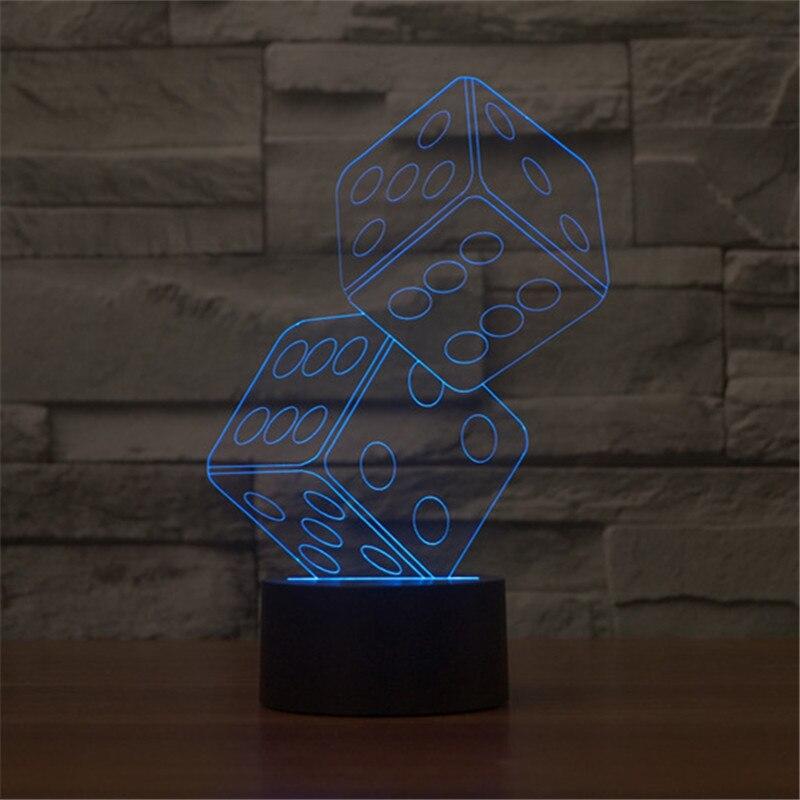 Aucd 2017 горячие Акриловые Красочные USB ночник 3D магия света концертный зал Игральная кость LED Настольная лампа ребенок Рождественский подарок...
