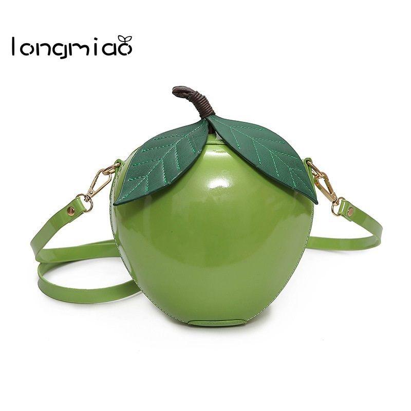 longmiao Women Crossbody Bags Red Green Circular Apple Bag Female Messenger Bags Leaves Watermelon Mini Bags for Teenager Girls