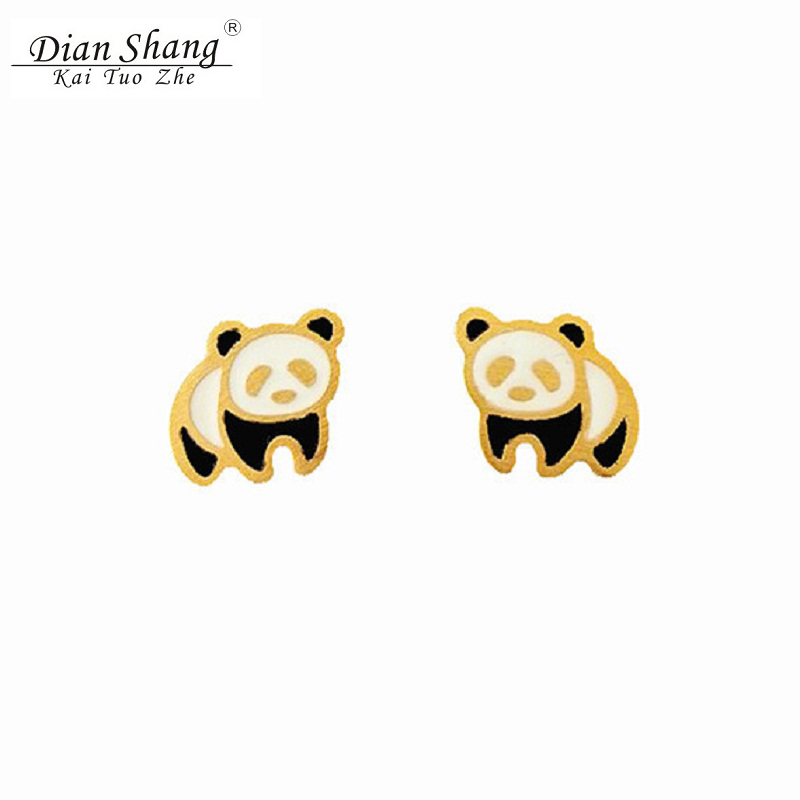 2017 Cute Pendientes Panda Earring Enamel Brincos Animal Stud Earrings Bear Jewelry Women Boucle d'oreille Femme Children's Gift