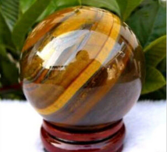 40mm Natural Tiger's Eye quartz crystal sphere ball + stand