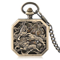 Vintage Pocket Watch Men Mechanical Hand Wind Pocket Watch Chain Tiger Carving Copper Silver Bronze Skeleton Steampunk Men Clock