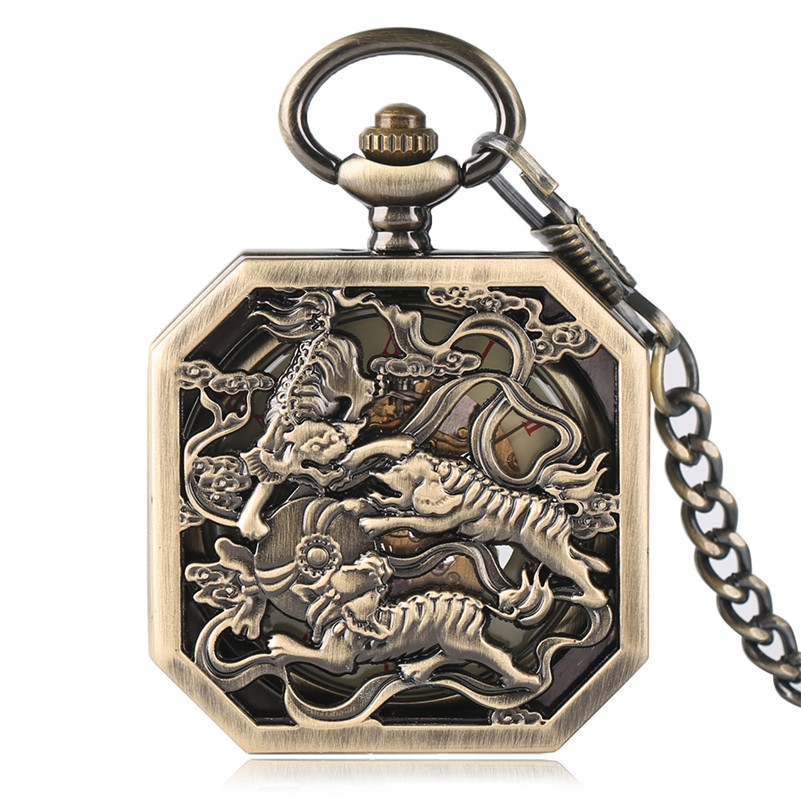 Steampunk Tiger Carving Copper Hand Winding Mechanical Pocket Watch Chain Skeleton Men Fob Watches Exquisite Retro Clock Gift retro roman numerals skeleton smooth sliver black mechanical pocket watch pendant men women with chain fob watches tjx050