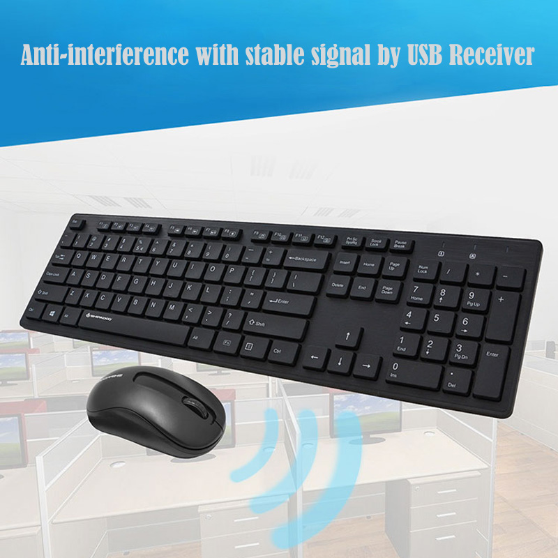 Image 4 - W1060 2.4Ghz Wireless Keyboard Mouse Slim Ergonomic Multimedia Keyboard 104 Keys USB Receiver 10M Range for Desktop/ Laptop-in Keyboards from Computer & Office