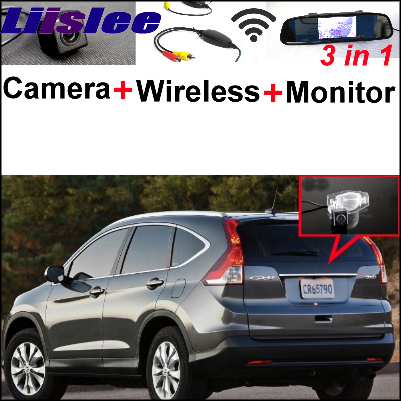 3 in1 Special Rear View Camera + Wireless Receiver + Mirror Monitor DIY Parking System For Honda For CR-V For CRV FRV HRV MRV wireless pager system 433 92mhz wireless restaurant table buzzer with monitor and watch receiver 3 display 42 call button
