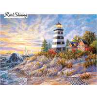 New Diy 3d Diamond Embroidery Seaside Lighthouse Rhinestones In Setting Painting Hand Embroidery Cross Stitch Good