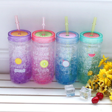 400ml Plastic Cup Drink With Straw Summer Ice Durable For Water Fruit Juice Coffee Portable Eco-Friendly